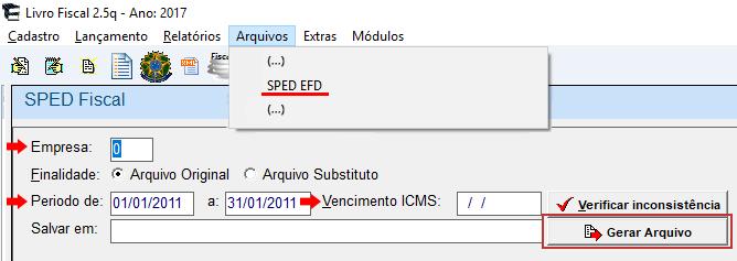 Como exportar do livro para sped efd